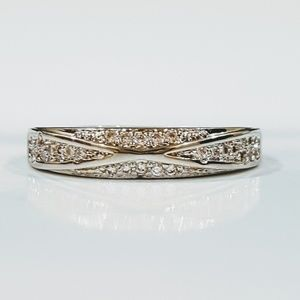 White-Gold CZ Band Ring